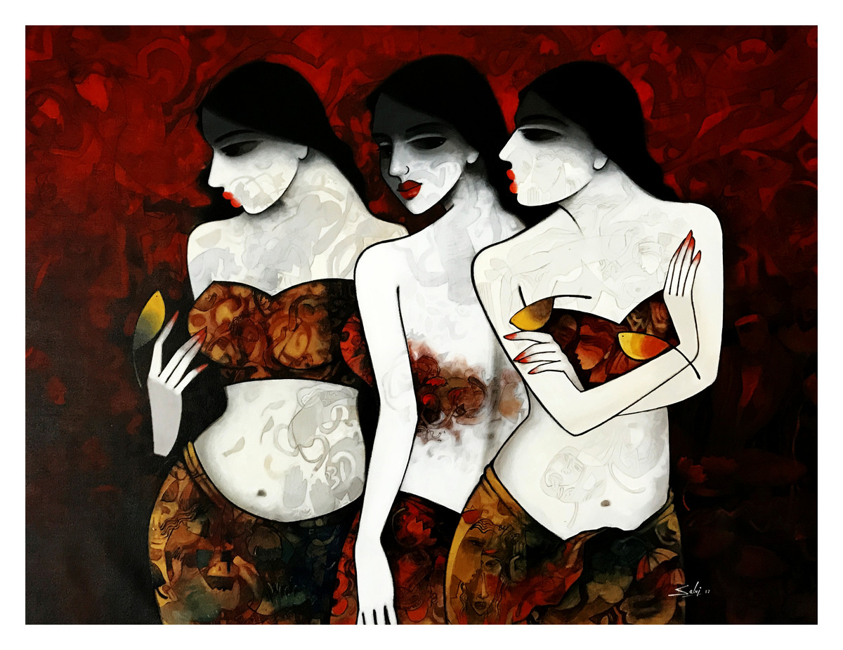 Three Sister by Mukesh Salvi, Decorative Painting, Acrylic on Canvas, Brown color