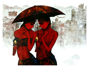 couple by Mukesh Salvi, Decorative Painting, Acrylic on Canvas, Brown color