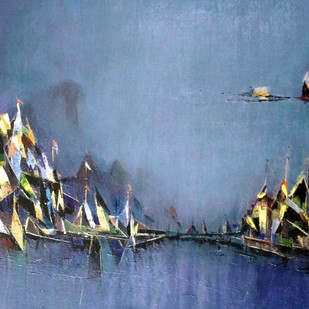 PORT by Dnyaneshwar Dhavale , Abstract Painting, Acrylic on Canvas, Blue color