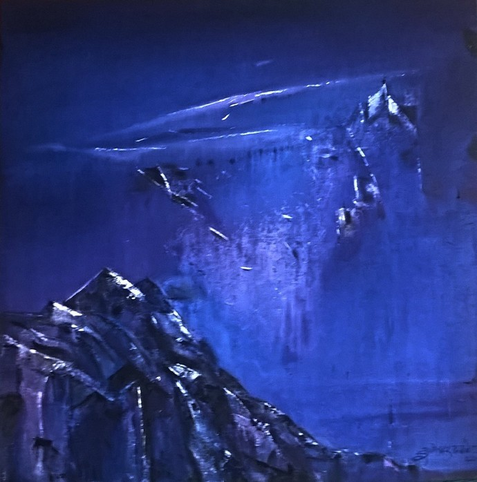 Mountain by Dnyaneshwar Dhavale , Abstract Painting, Acrylic on Canvas, Blue color