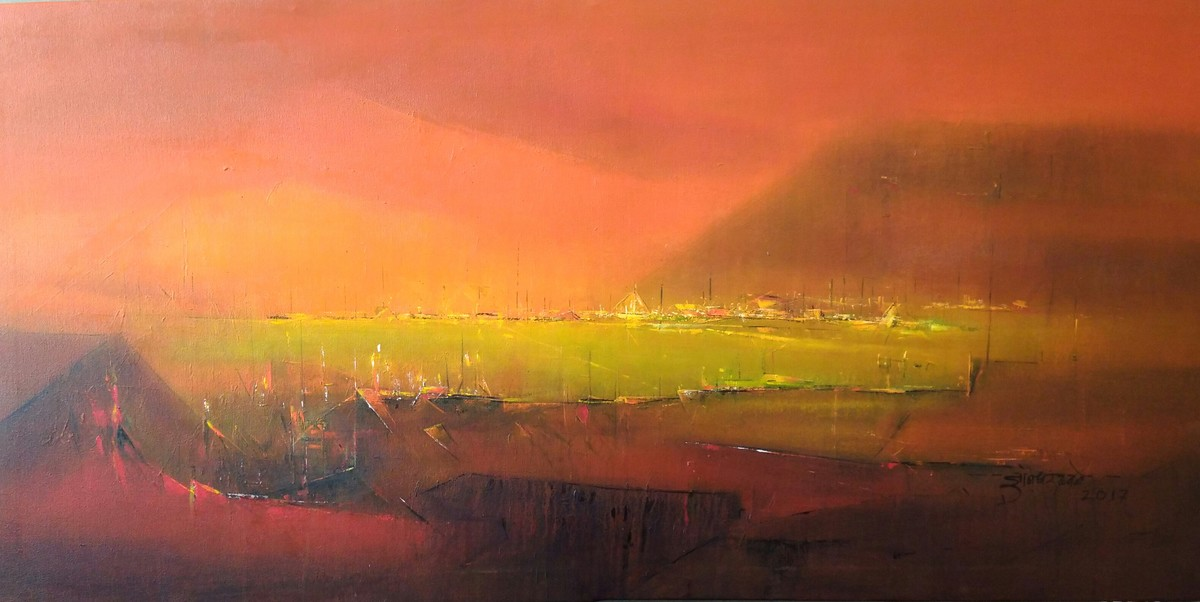 Midnight by Dnyaneshwar Dhavale , Abstract Painting, Acrylic on Canvas, Brown color
