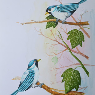 Birds painting (2) by santosh patil, Impressionism Painting, Watercolor on Paper, Pink color