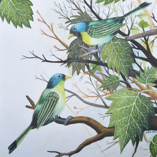 Birds painting (4) by santosh patil, Impressionism Painting, Watercolor on Paper, Pink color