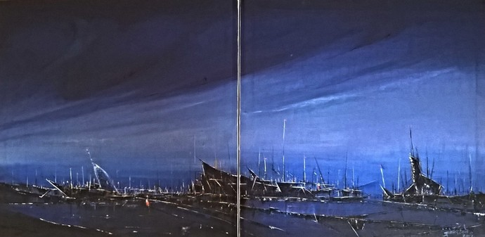 Moon light by Dnyaneshwar Dhavale , Impressionism Painting, Acrylic on Canvas, Blue color