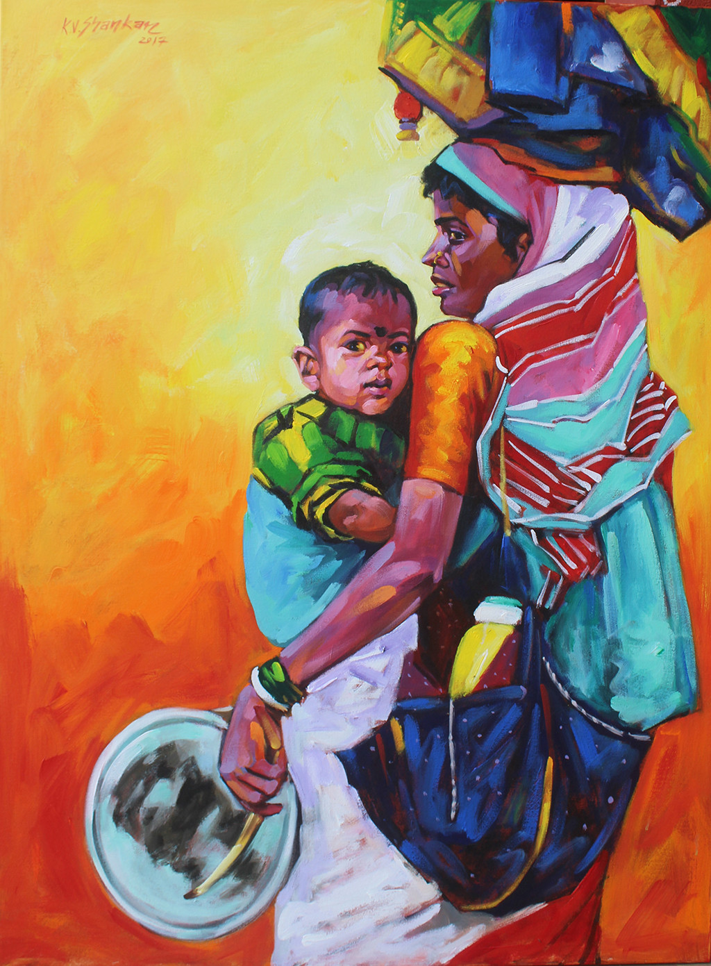 mother & child 11 by K V Shankar, Expressionism Painting, Acrylic on Canvas, Brown color