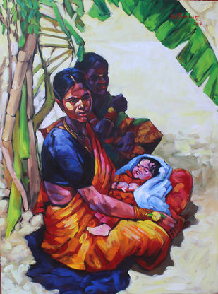 mother & child 12 by K V Shankar, Expressionism Painting, Acrylic on Canvas, Brown color