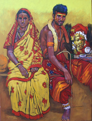 family by K V Shankar, Expressionism Painting, Acrylic on Canvas, Brown color