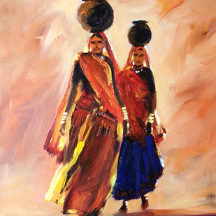 Two Ladies by Sunil Linus De, Impressionism Painting, Acrylic on Paper, Brown color