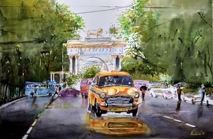 Calcutta Streets by Avanish Trivedi, Impressionism Painting, Watercolor on Paper, Green color