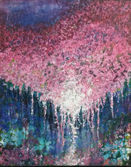 bliss of nature by dilraj kaur, Impressionism Painting, Acrylic on Canvas, Blue color