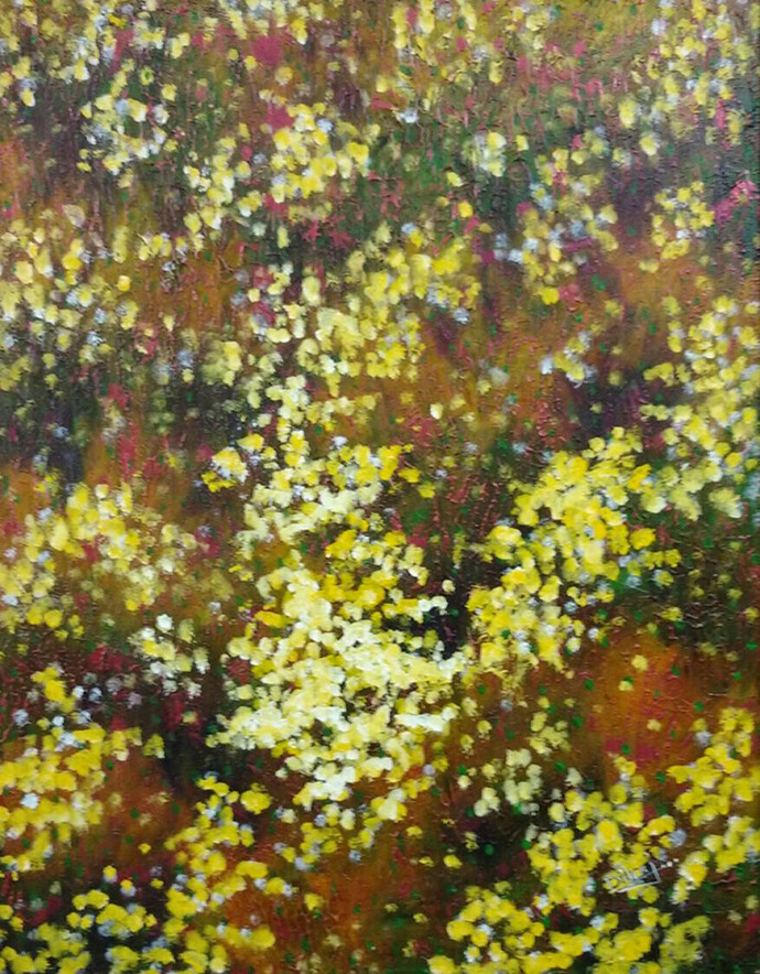 bliss of nature (I) by Dilraj Kaur, Impressionism Painting, Acrylic on Canvas, Green color