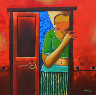 waiting by anupam pal, Decorative Painting, Acrylic on Canvas, Brown color