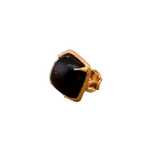 STUDDED WOODEN PYRAMID RING by Symetree, Contemporary Ring