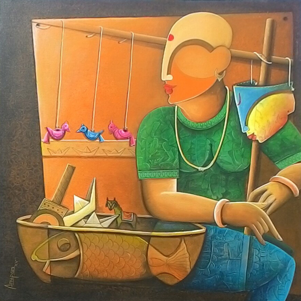 toy seller by anupam pal, Decorative Painting, Acrylic on Canvas, Brown color
