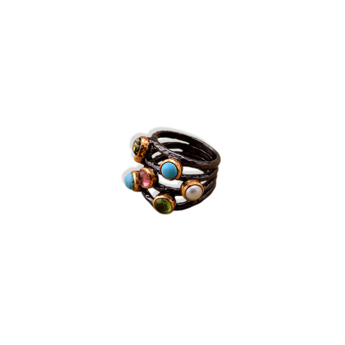 ORGANIC TWO-TONED MULTI-RING by Symetree, Contemporary Ring