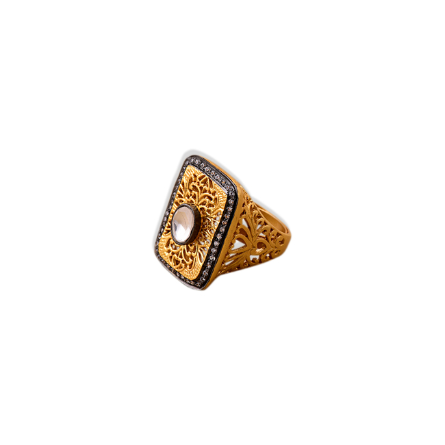 FILIGREE RECTANGLE RING by Symetree, Contemporary Ring