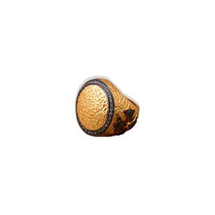 TEXTURED TWO-TONED SHEILD RING by Symetree, Art Jewellery Ring
