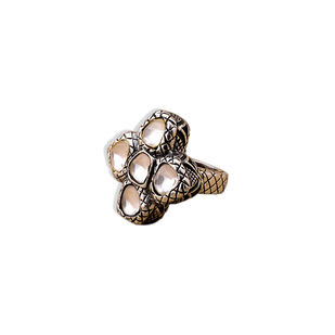 OXIDIZED POLKI FLOWER RING by Symetree, Contemporary Ring