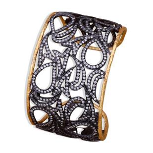TWO TONE CZ CUFF by Symetree, Art Jewellery Bangle