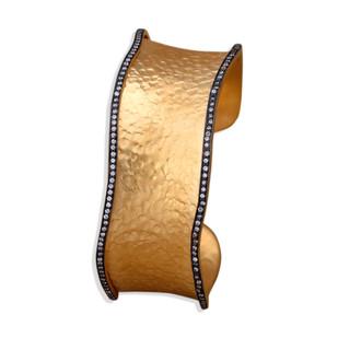 Cz Scallop Edged Cuff by Symetree, Art Jewellery Bangle