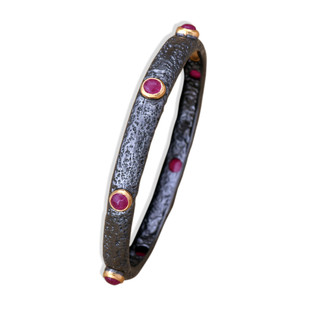Hematite Ruby Bangle by Symetree, Contemporary Bangle