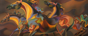 Horses by Sudhir Bhagat, Expressionism Painting, Oil on Canvas, Brown color