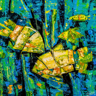 Flow of Dreams 10 by gurdish pannu, Abstract Painting, Acrylic on Canvas, Green color