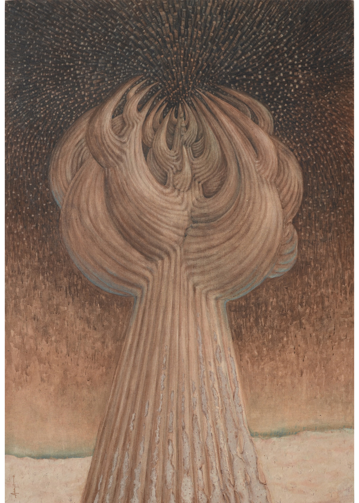 The Nightmare by Abhijit Das, Surrealism Painting, Mixed Media on Paper, Brown color
