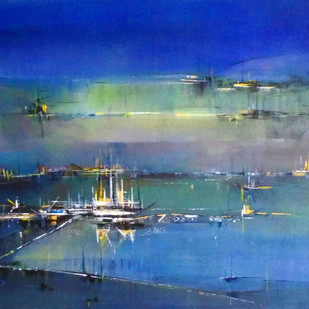 Golden Light by Dnyaneshwar Dhavale , Abstract Painting, Acrylic on Canvas, Blue color