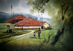 House in grass by Sayyad Sohel, Impressionism Painting, Watercolor on Paper, Green color