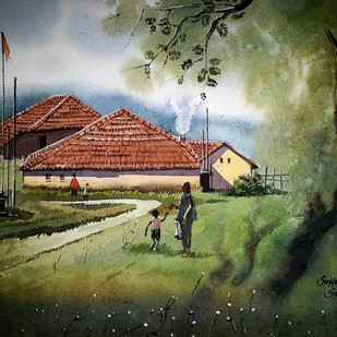 House in grass by Sohel Sayyad, Impressionism Painting, Watercolor on Paper, Green color