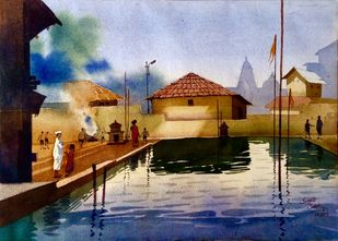 Reflection by Sayyad Sohel, Impressionism Painting, Watercolor on Paper, Brown color