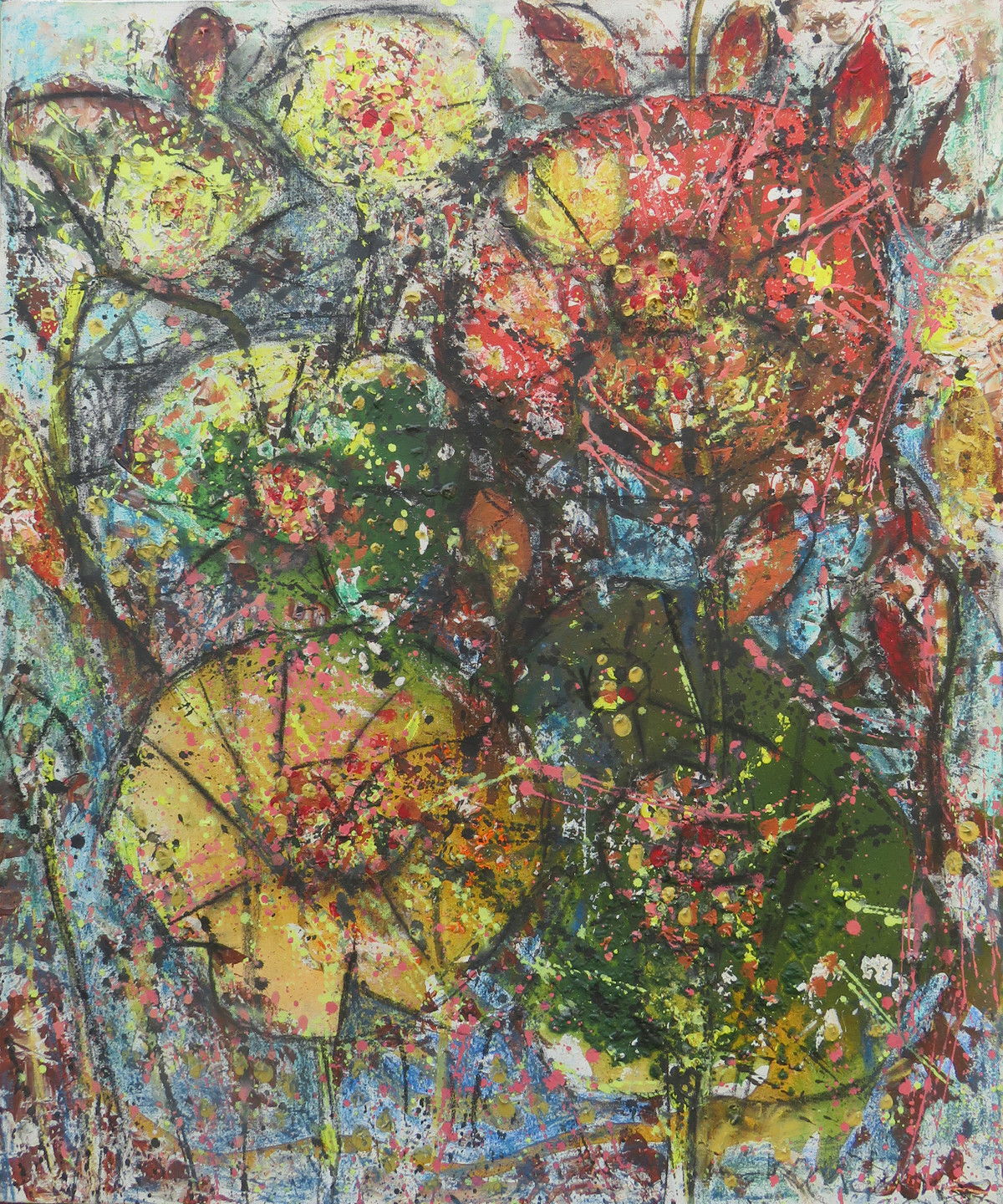 LOTUS LEAVES 2 by Chandana khan, Abstract Painting, Mixed Media on Canvas, Brown color
