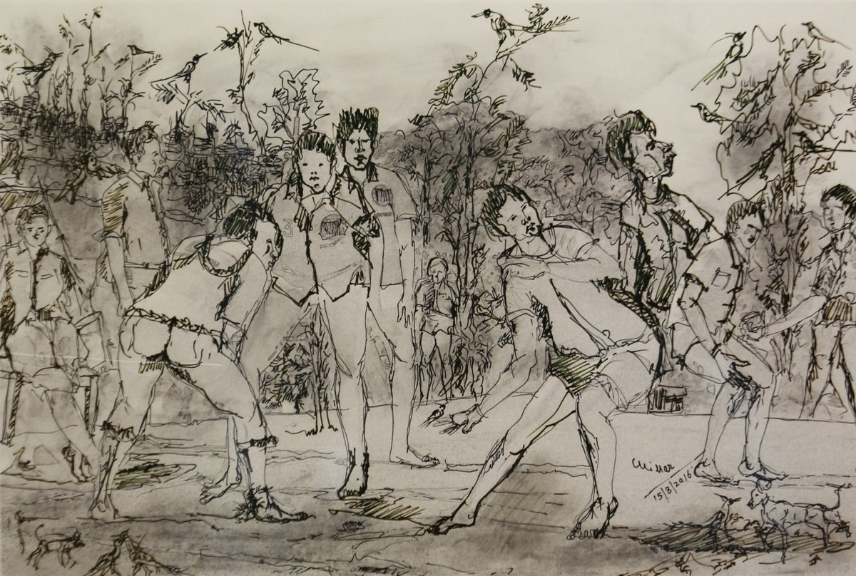 Playing Kabaddi by J K Chillar, Illustration Painting, Ink on Paper, Brown color
