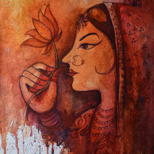 Rajasthani women banithani by Uday Tadphale, Impressionism Painting, Watercolor & Ink on Paper, Brown color