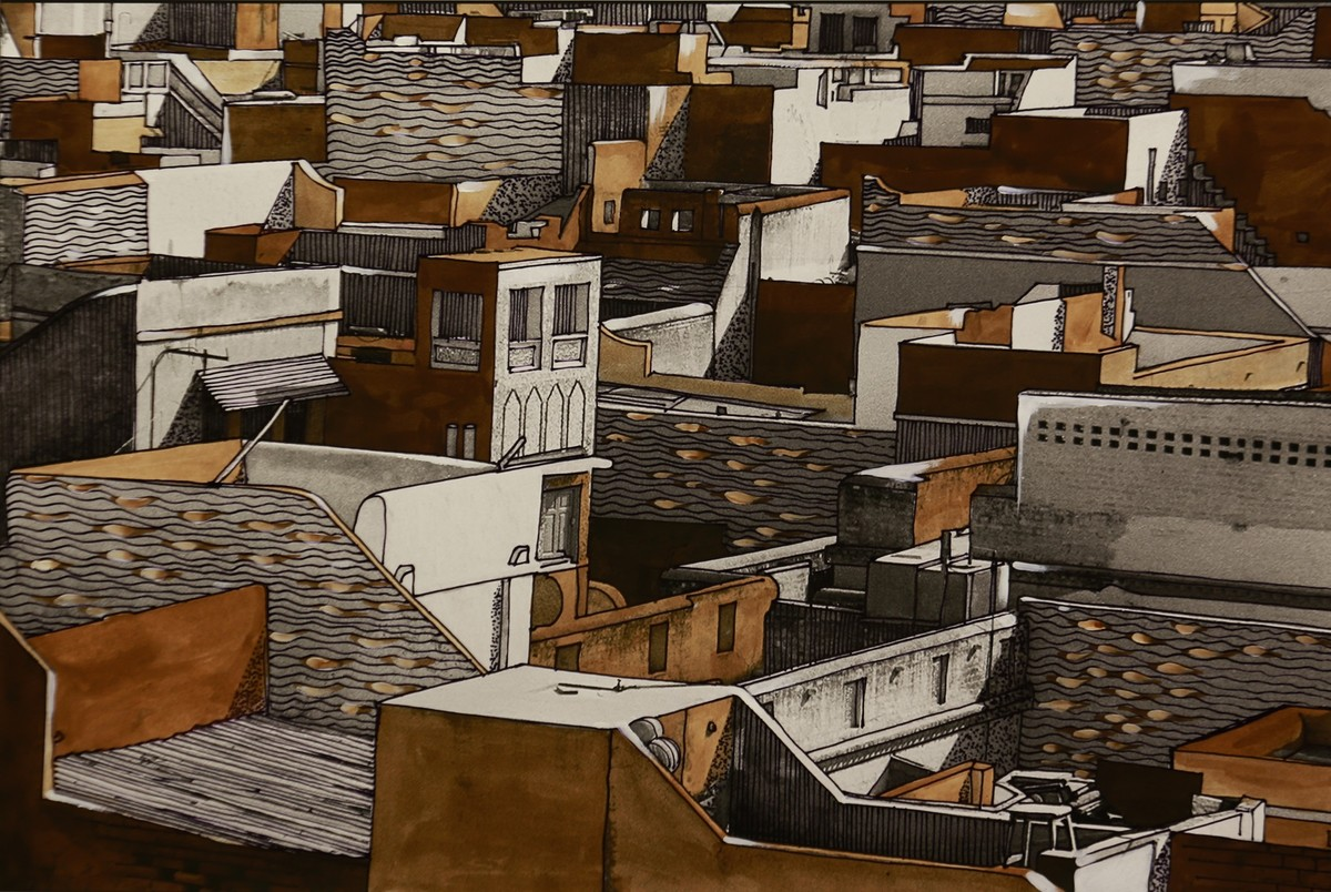 Bikaner by Ashok Namdeo Hinge, Expressionism Painting, Acrylic on Paper, Brown color