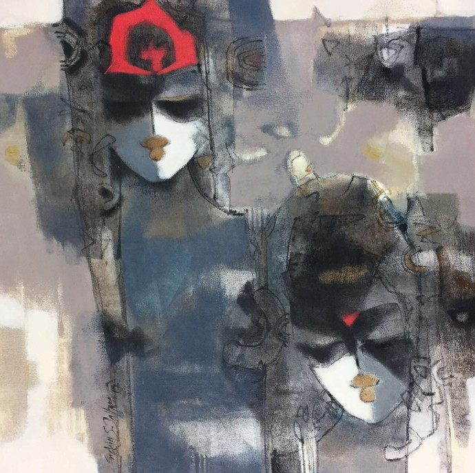 Untitled by Sachin Jaltare, Expressionism Painting, Mixed Media on Canvas, Gray color