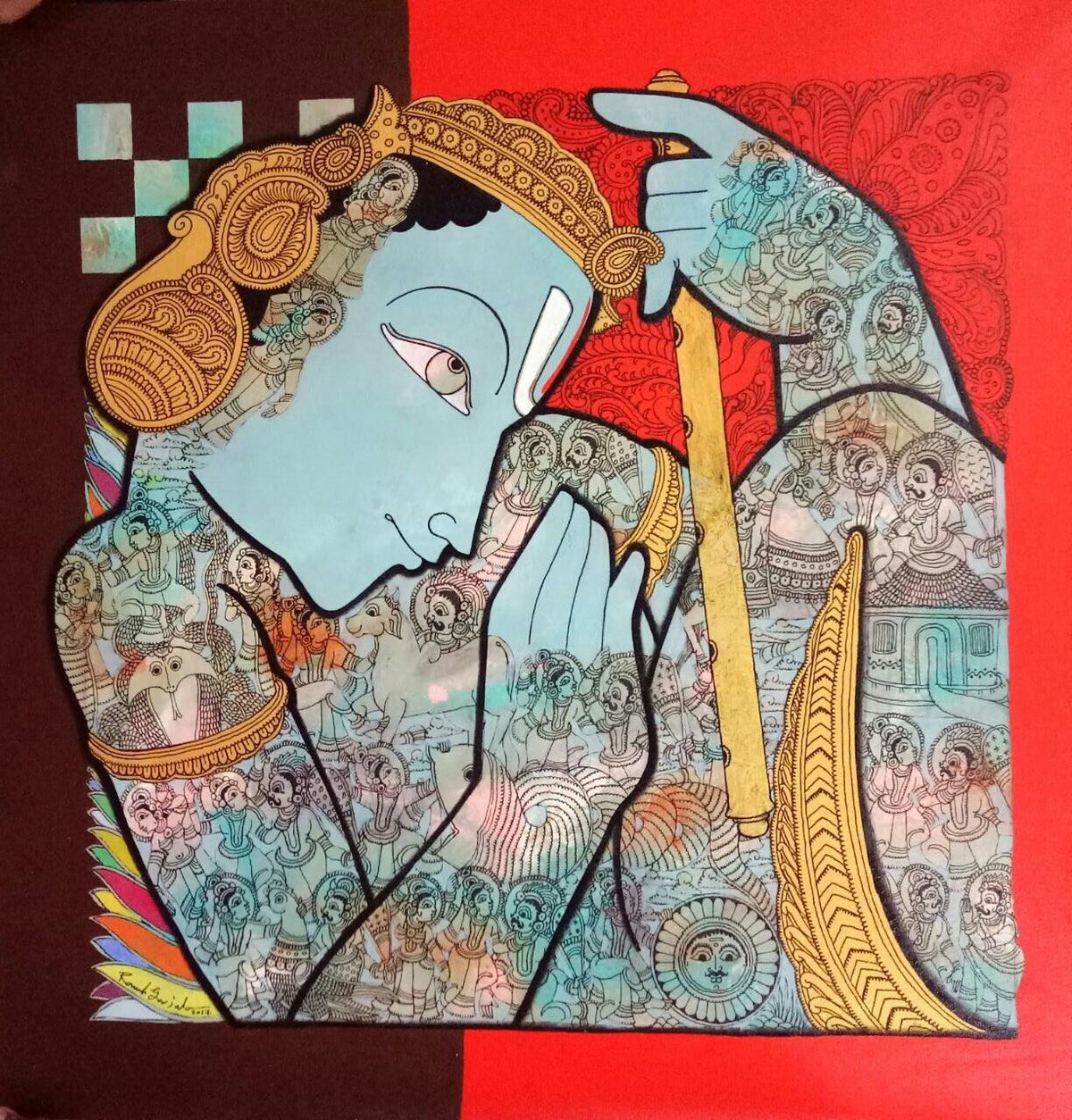 Krishna by Ramesh Gorjala, Expressionism Painting, Acrylic on Canvas, Brown color