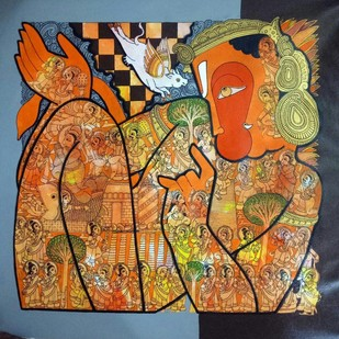 Hanuman by Ramesh Gorjala, Expressionism Painting, Acrylic on Canvas, Brown color