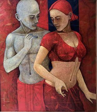 Affection by Asit Kumar Patnaik, Expressionism Painting, Oil & Acrylic on Canvas, Brown color
