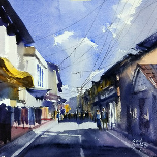 street by Sunil Linus De, Impressionism Painting, Watercolor on Paper, Blue color