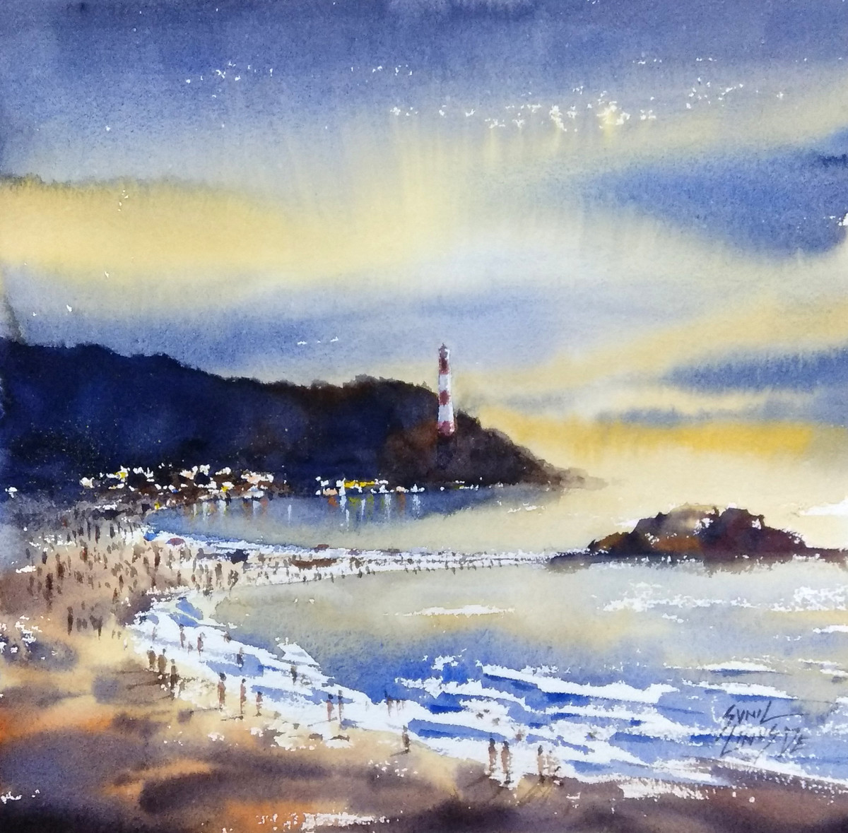 light house by Sunil Linus De, Impressionism Painting, Watercolor on Paper, Blue color