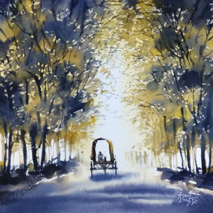misty morning by Sunil Linus De, Impressionism Painting, Watercolor on Paper, Gray color