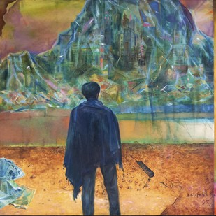 City Persona I by Amitabh SenGupta, Expressionism Painting, Oil on Canvas, Brown color