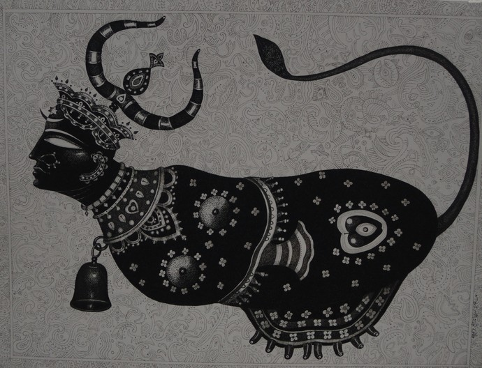 Kamdhenu by Bhaskar Lahiri, Traditional Painting, Ink on Paper, Gray color