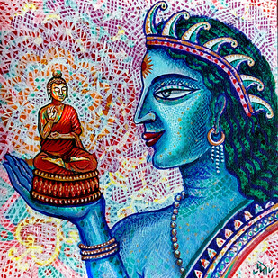 THE IDOL MAKER by Pradip Sarkar, Decorative Painting, Acrylic on Canvas, Blue color