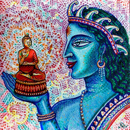 THE IDOL MAKER by Pradip Sarkar, Decorative Painting, Acrylic on Canvas, Blue color