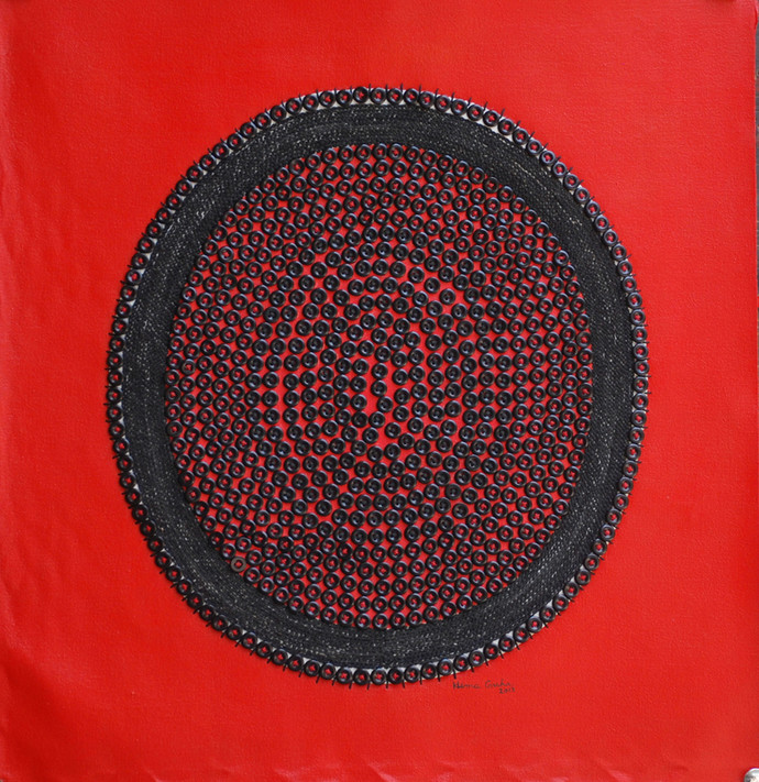 space XI by Hemavathy Guha, Conceptual Painting, Mixed Media on Canvas, Red color