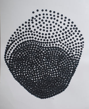 omnipresent by Hemavathy Guha, Geometrical Drawing, Monotype on Paper, Gray color