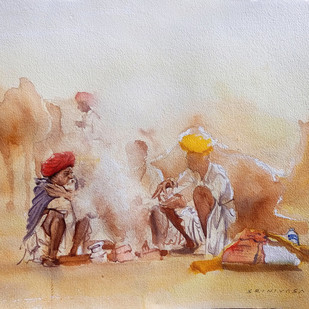 Pushkar by Sreenivasa Ram Makineedi, Impressionism Painting, Watercolor on Paper, Beige color